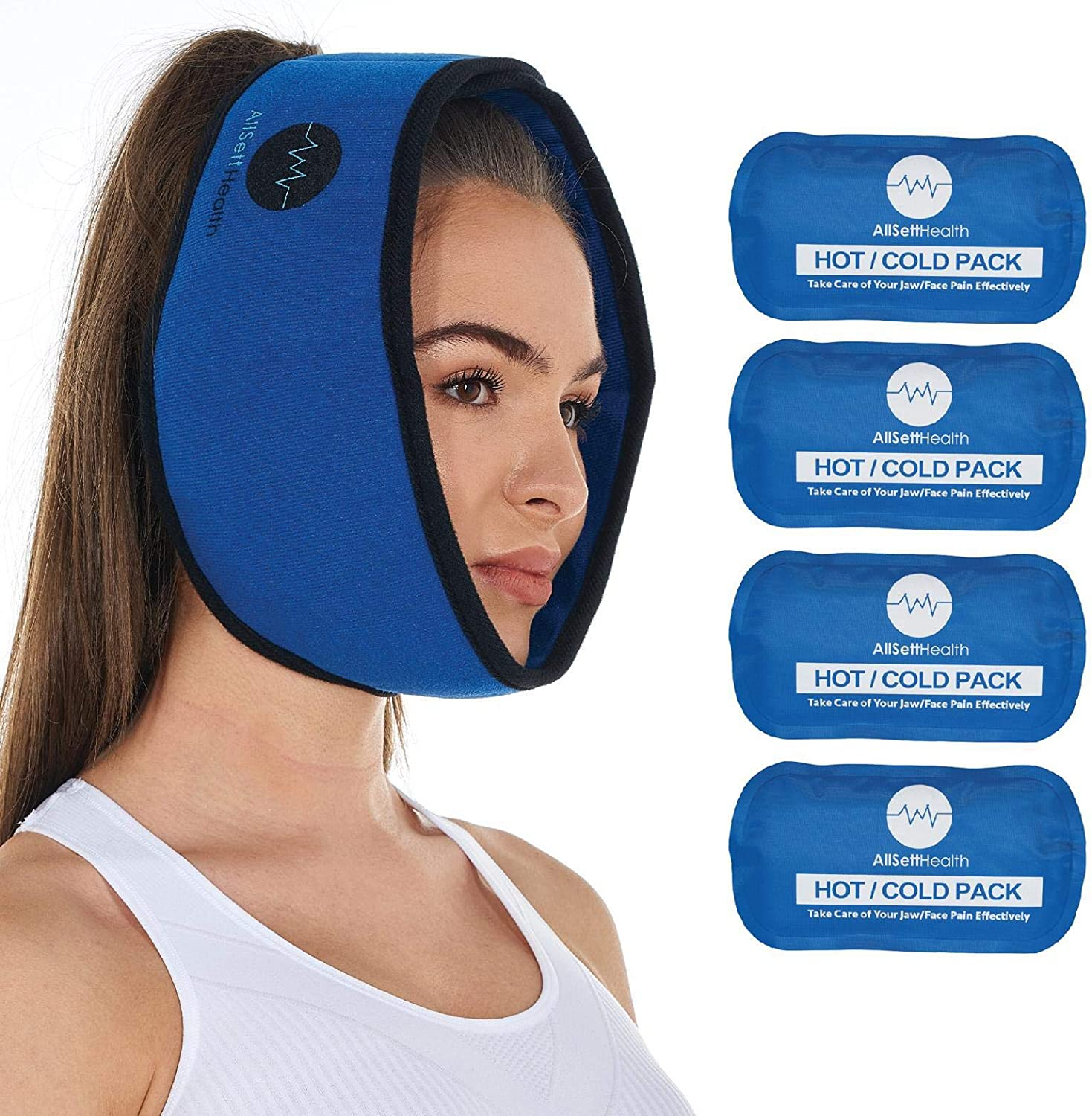 Amazon Com Face Ice Pack For Wisdom Teeth Jaw Head And Chin 4 Reusable Hot Or Cold Gel Packs Relief For Mouth Or Oral Pain Facial Surgery Tmj Pain Relief Health Personal