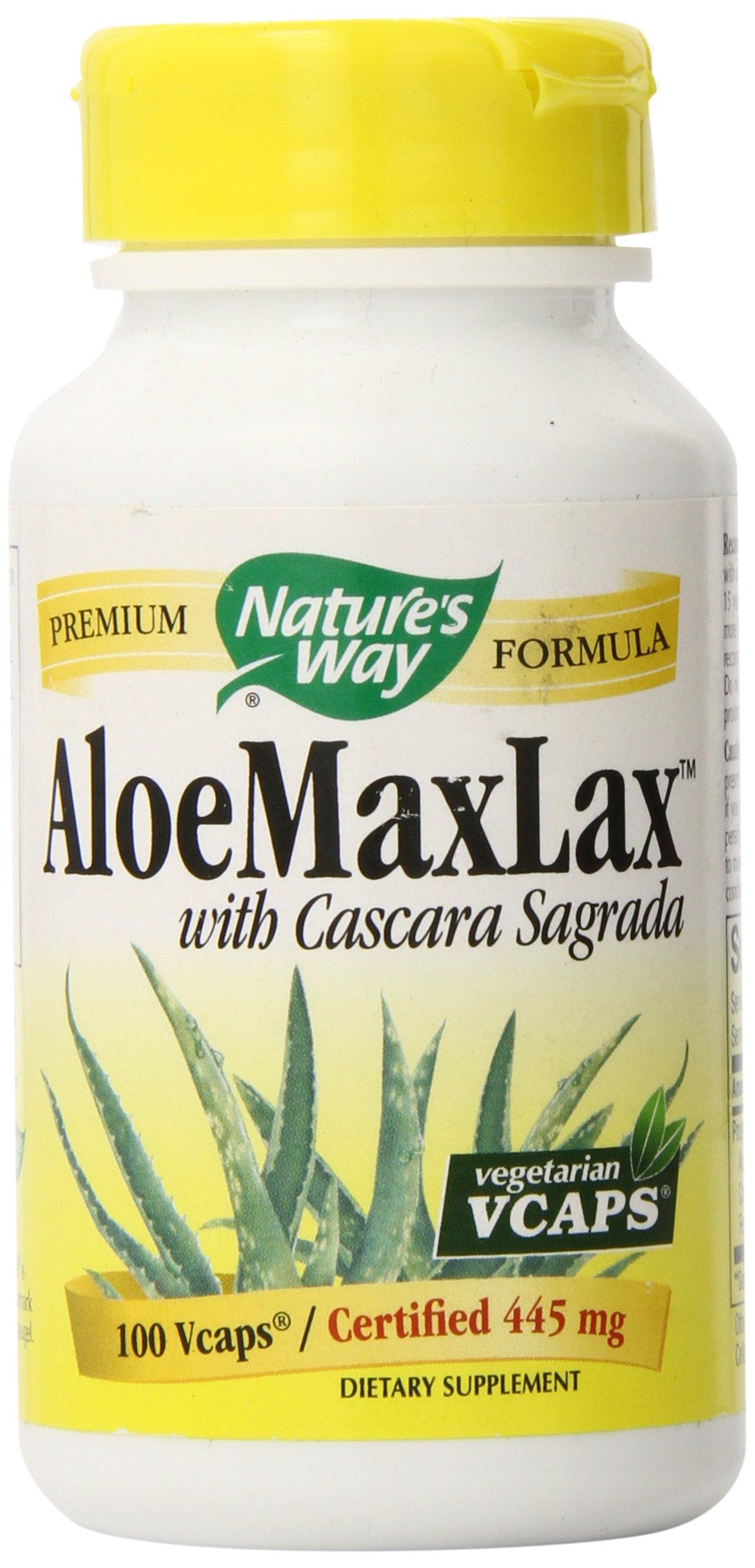 Nature's Way Aloemaxlax With Cascara Sagrada Vegetarian Capsules, 100 Count by Nature's Way