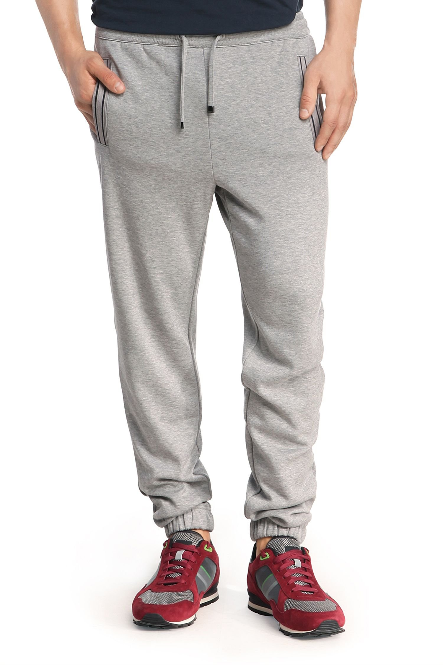 Hugo Boss Men's Hadiko Solid Gray Stretch Cotton Blend Track Jogging Sweat Pants (XL)
