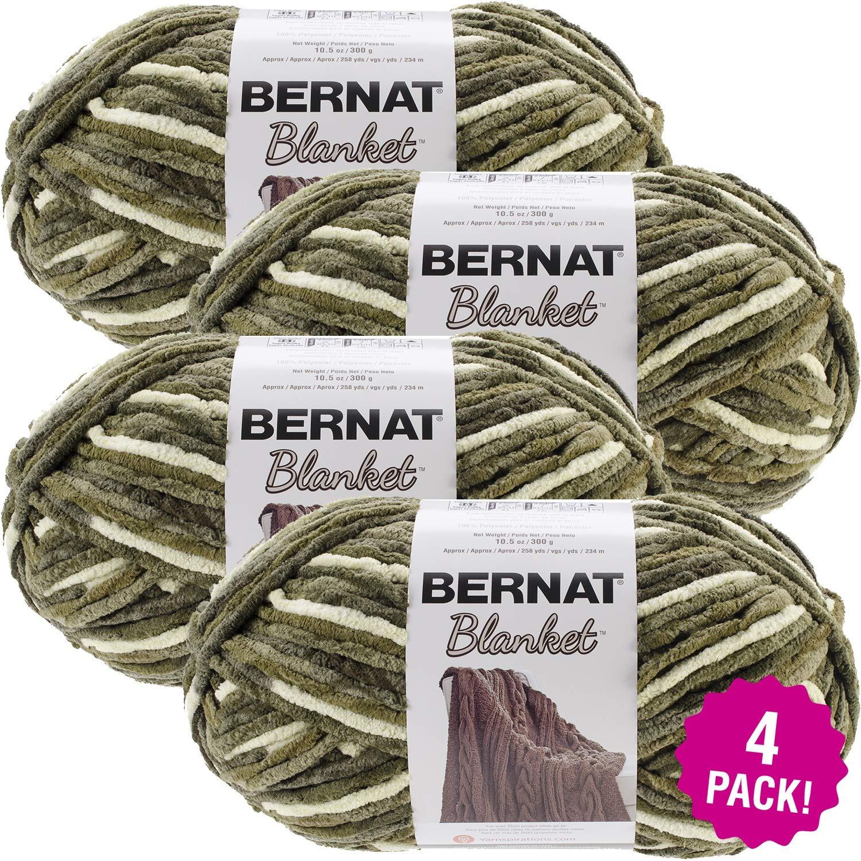 Bernat 99633 Blanket Big Ball Yarn-Gathering Moss, Multipack of 4, Pack