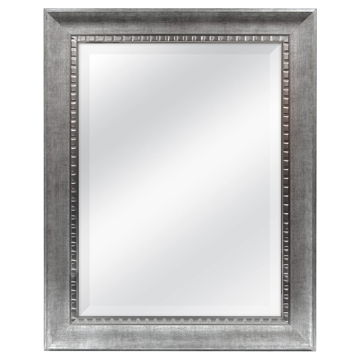 MCS 18x24 Sloped Mirror with Dental Molding Detail Outside Dimension is 23.5x29.5, Silver Finish MCS Industries 20563