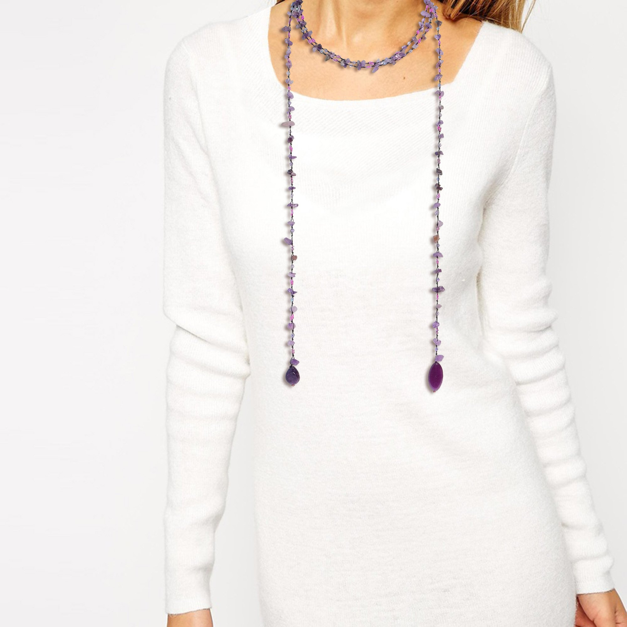 Sparkling Aura Simulated Amethyst & Reconstructed Agate Lariat Necklace by AeraVida (Image #2)