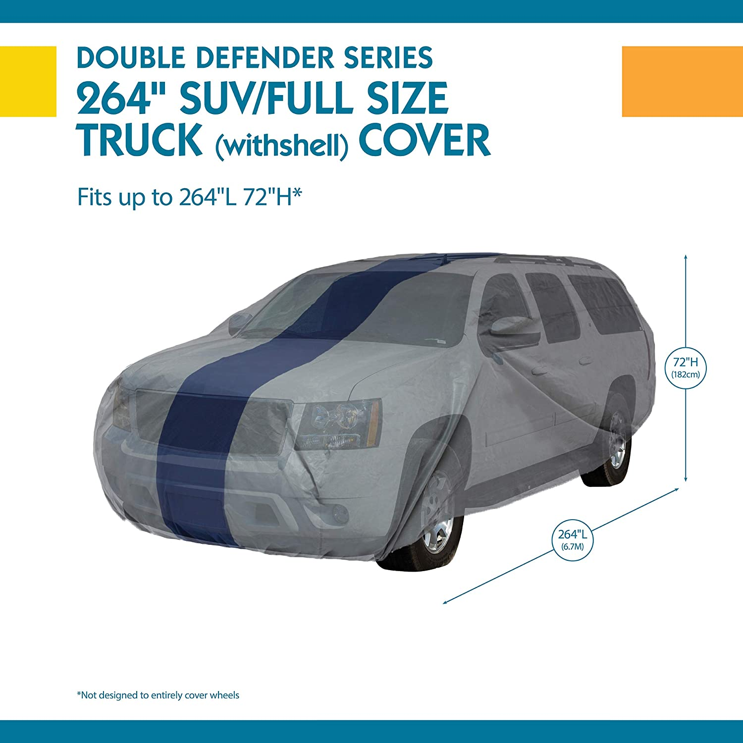 Duck Covers Double Defender SUV Cover for SUVs//Pickup Trucks with Shell or Bed Cap up to 17 5