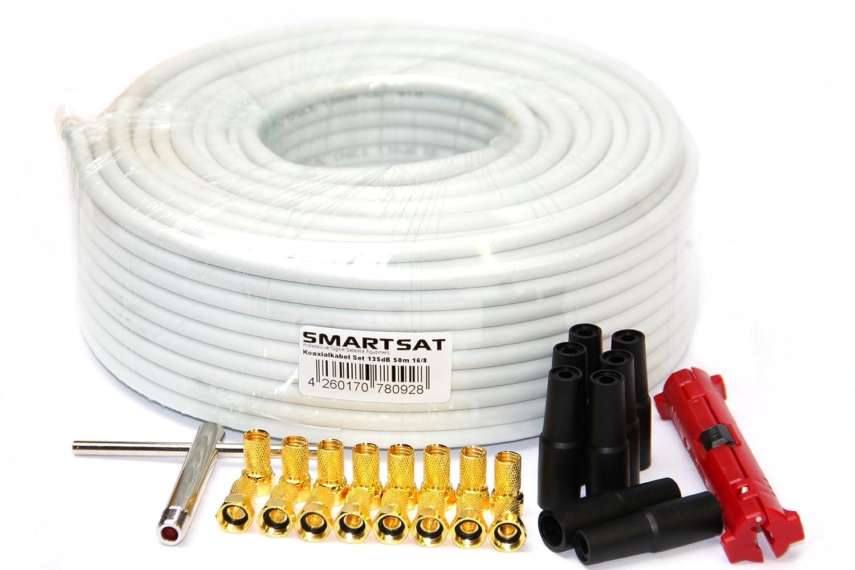 Cable coaxial Smartsat 50 m 135 db 8,2 mm, SAT-cable pelacables, F-Aufdrehwerkzeug, 16 F-conectores oro 8 protección, HDTV y 3D salubres, cable coaxial para ...