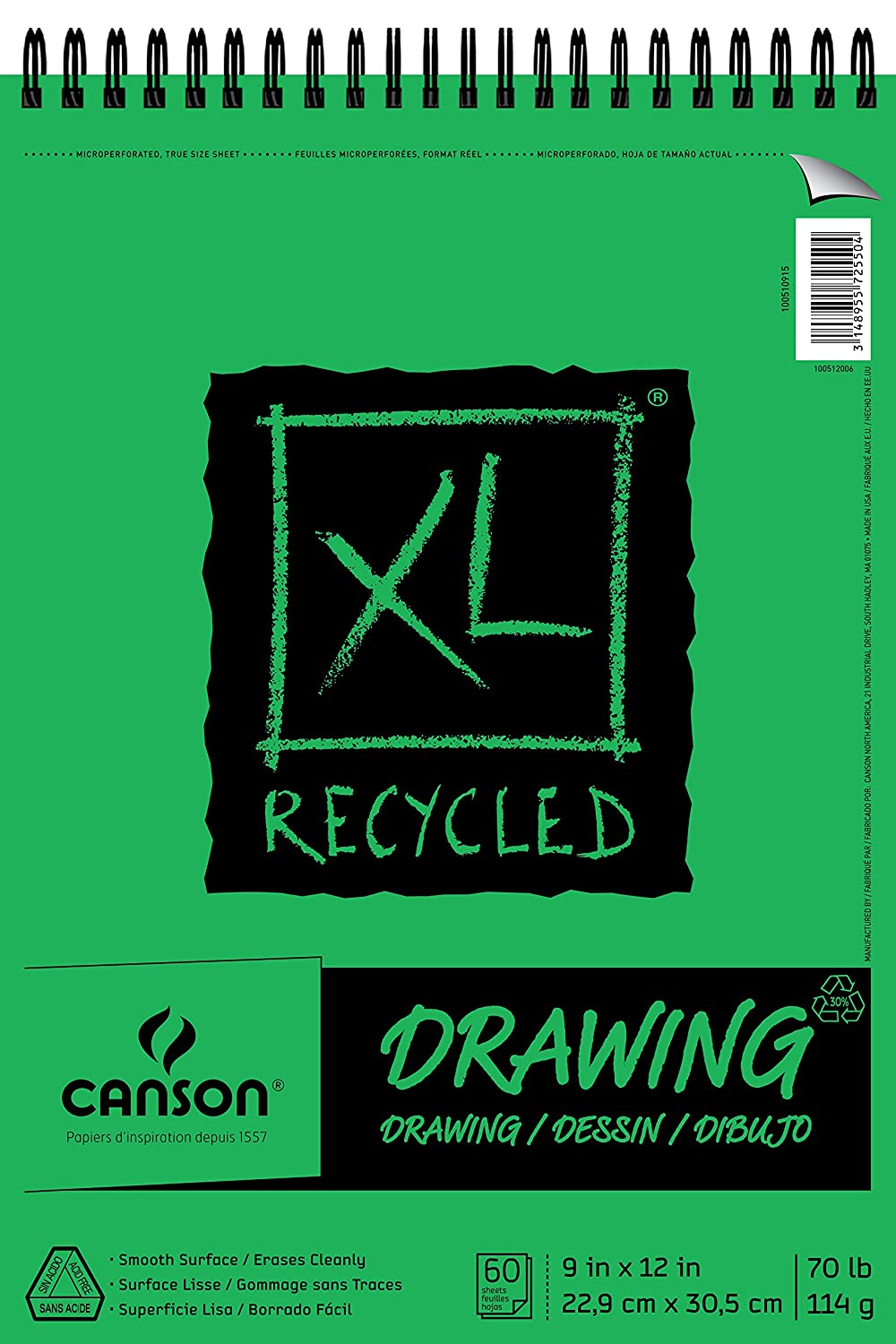 Canson XL Series Recycled Drawing Paper Pad, Top Wire Bound, 70 Pound, 11 x 14 Inch, 60 Sheets CANSON Inc 100510916