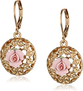 product image for 1928 Jewelry Porcelain Rose Collection Gold-Tone Pink-Porcelain Drop Earrings