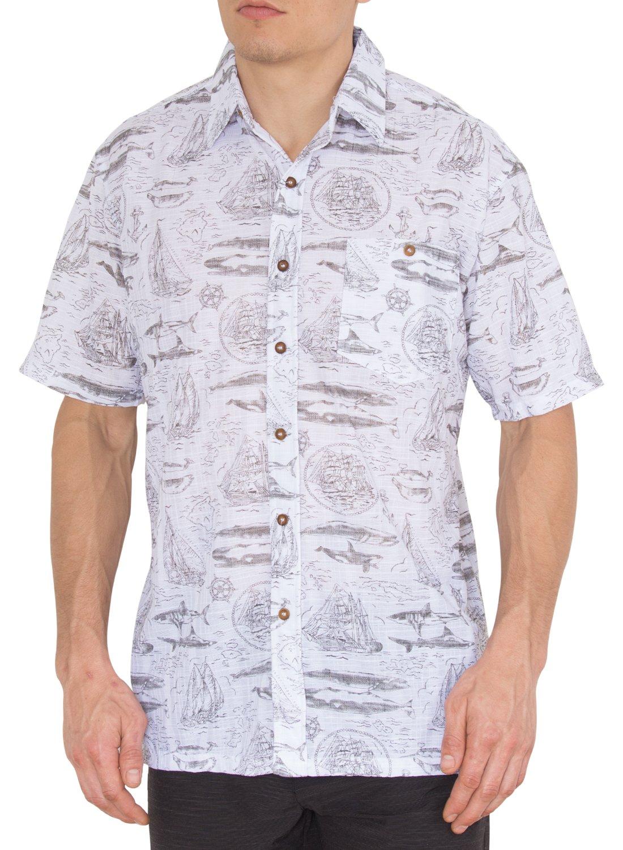 Nob Hill Hawaiian Bright Summer Short Sleeve Button Dowon Big Mens Shirt Sail Boat M
