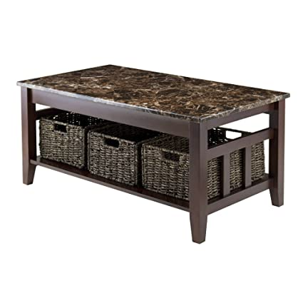 Amazoncom Winsome Wood Faux Marble Top Zoey Coffee Table Kitchen