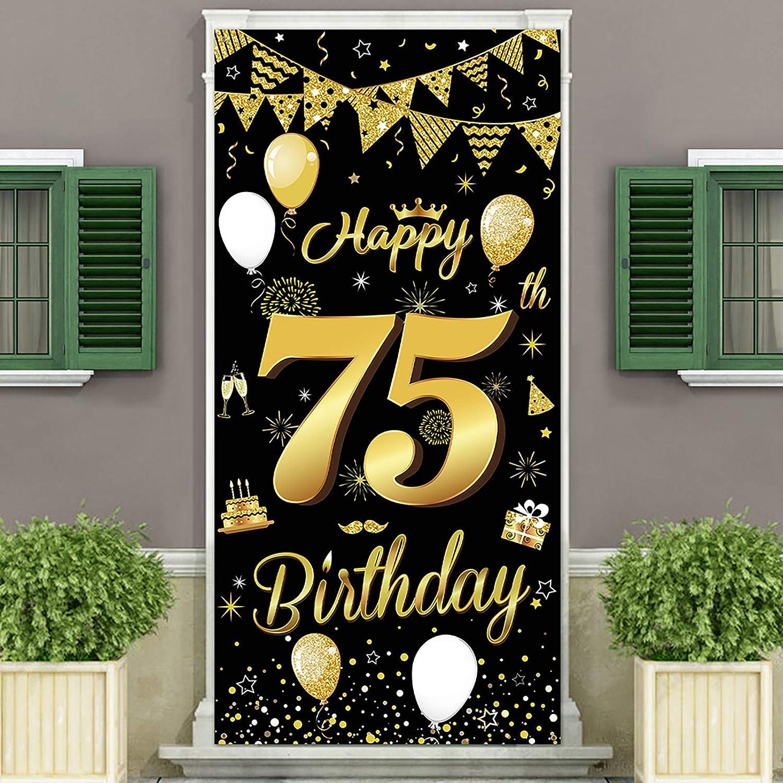 Super popular specialty store DUAIAI Happy 75th Birthday Popular brand in the world Party Cover Decorative Banner La Door