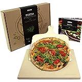 #benehacks Pierre à Pizza pour Four & Grill – Pâte à Pizza, Pain et Gâteaux – Kit avec Pierre, Livre de Recettes à Pizzas et Pelle à Pizza