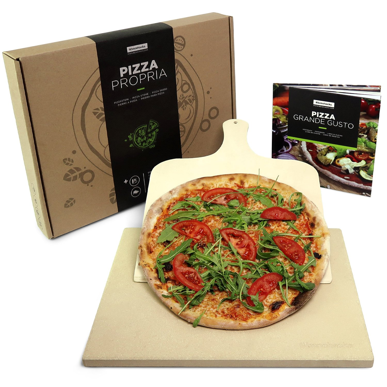 #benehacks® Pierre à Pizza pour Four & Grill – Pâte à Pizza, Pain et Gâteaux – Kit avec Pierre, Livre de Recettes à Pizzas et Pelle à Pizza