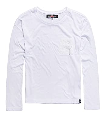 Superdry Viscose Neppy L/S tee, Top para Mujer, Blanco (White04C), S