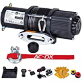 AC-DK 4500 lb. Synthetic Rope ATV/UTV Winch Kits, DC 12V Wireless Winch for Towing Off Road Electric Winch, with Winch…