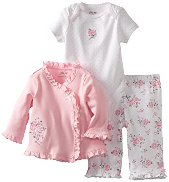 bbc13ae5b Amazon.com: Little Me Baby-Girls Newborn Sweet Rose Take Me Home Set:  Infant And Toddler Layette Sets: Clothing
