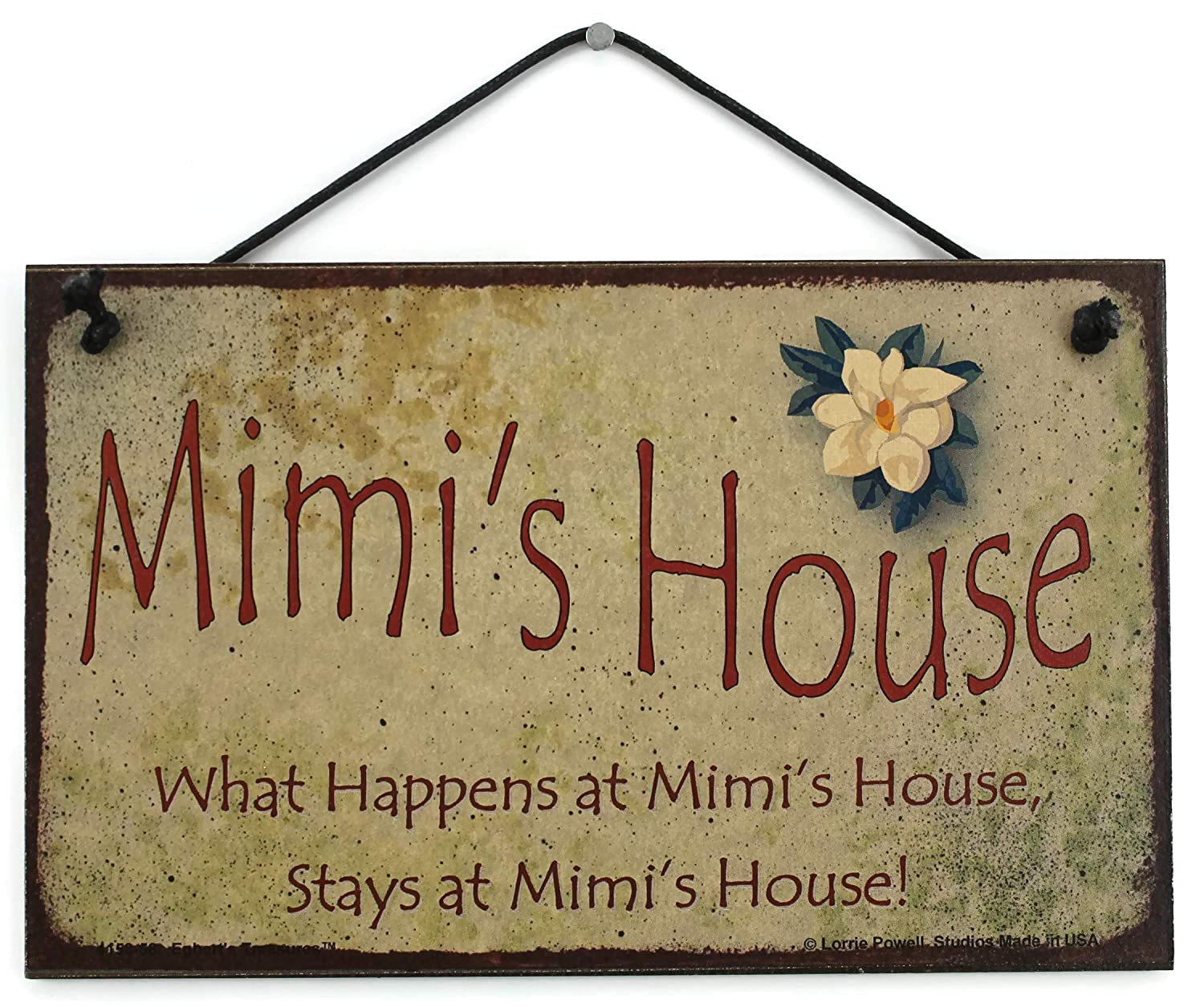 "5x8 Vintage Style Sign with Magnolia Saying, ""Mimi's House What Happens at Mimi's House, Stays at Mimi's House!"" Decorative Fun Universal Household Signs from Egbert's Treasures"