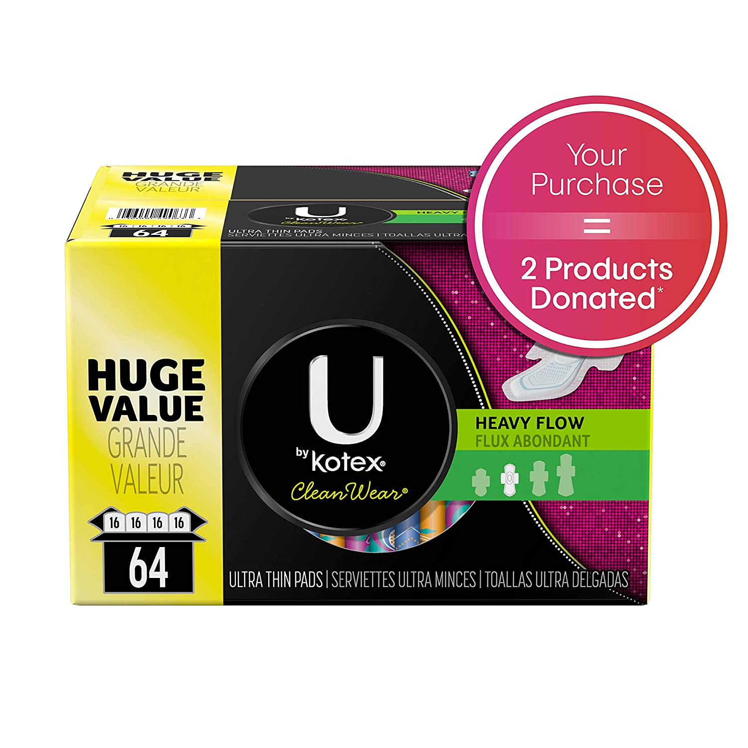 U By Kotex Cleanwear Ultra Thin Pads With Wings, Heavy Flow, 64 Count