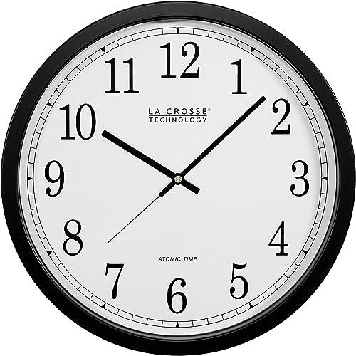 La Crosse Technology WT-3143A-INT 14-Inch Atomic Wall Clock, Black