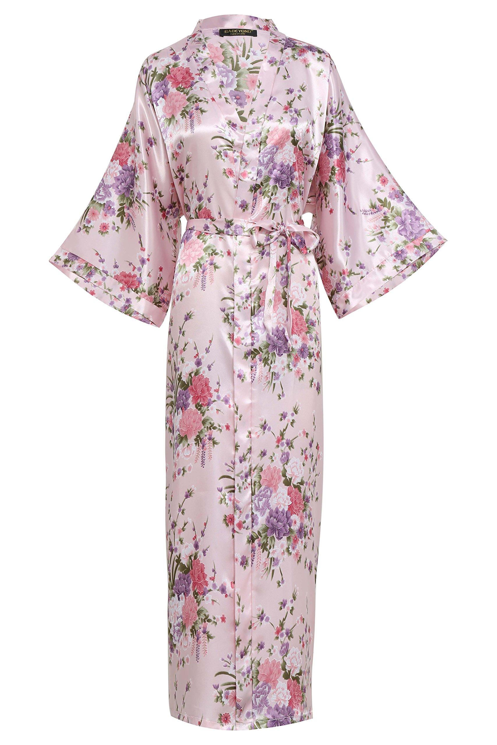 BABEYOND Kimono de Seda Vestido de Satén Kimono Pavo Real Novia Pijamas de Seda Bata de Satén 135 cm product image