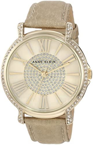 Anne Klein Women s AK 1068CMGD Accented Gold Tone Cream Snake Print Leather Strap Watch