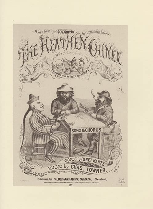 """1976 Vintage CALIFORNIA /""""THE HEATHEN CHINEE BRET HARTE/"""" Lithograph 107 CHINESE"""