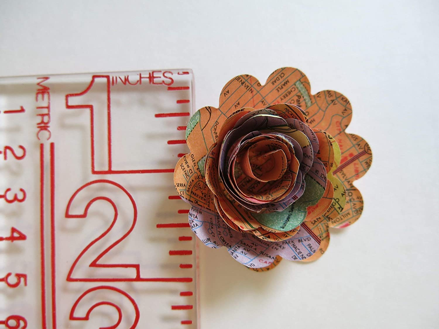 Scallop USA Road Map Paper Flowers 1.5 Inch Roses Set of 12 Travel Theme Party Decorations