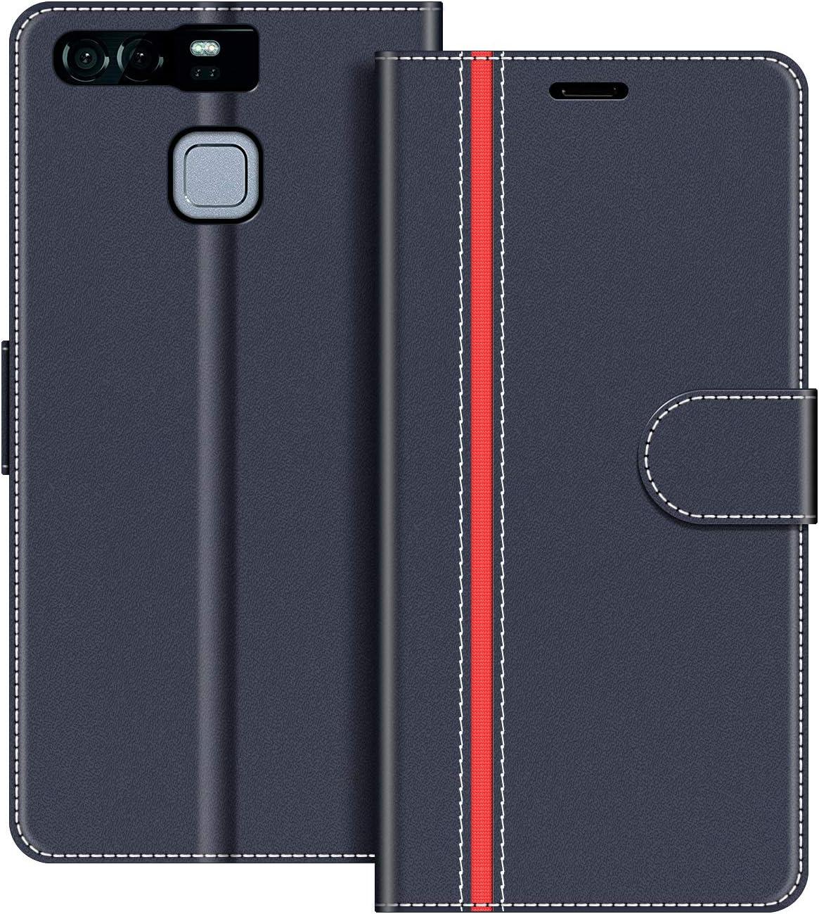 COODIO Funda Huawei P9 con Tapa, Funda Movil Huawei P9, Funda Libro Huawei P9 Carcasa Magnético Funda para Huawei P9, Azul Oscuro/Rojo: Amazon.es: Electrónica