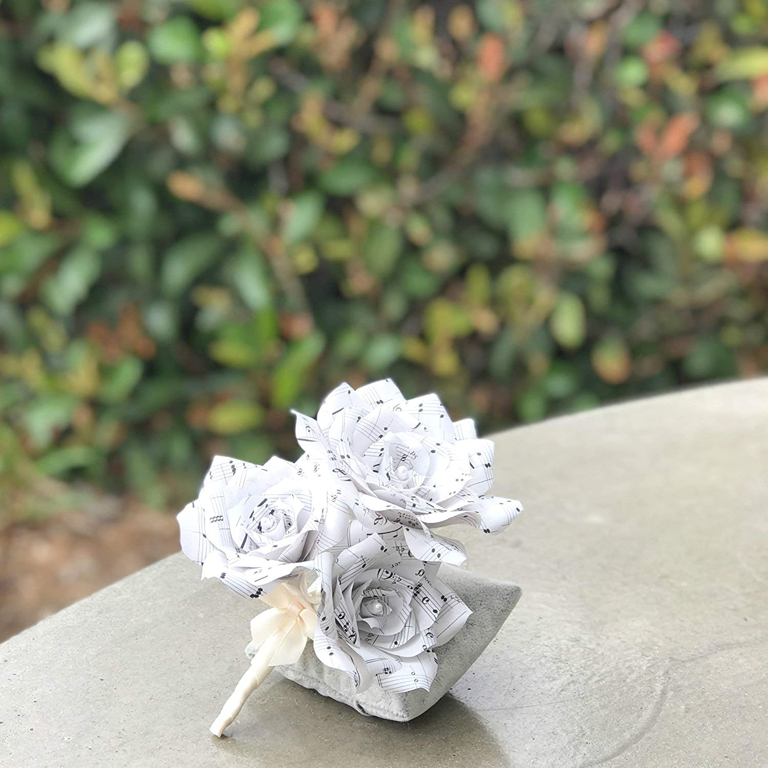 Music note paper boutonniere or Corsage