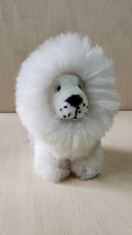 White lion Plush Trending stuffed animal Gift for kids Peru toy Natural alpaca wool color Home decoration 9.5 inch Handmade in Peru Authentic Baby Alpaca Fur Original