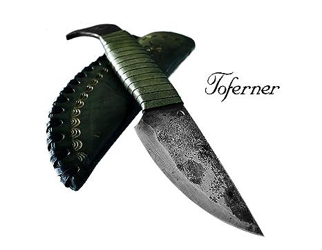 Toferner - Cuchillo de Acero Cabeza de pájaro - Forjado a ...