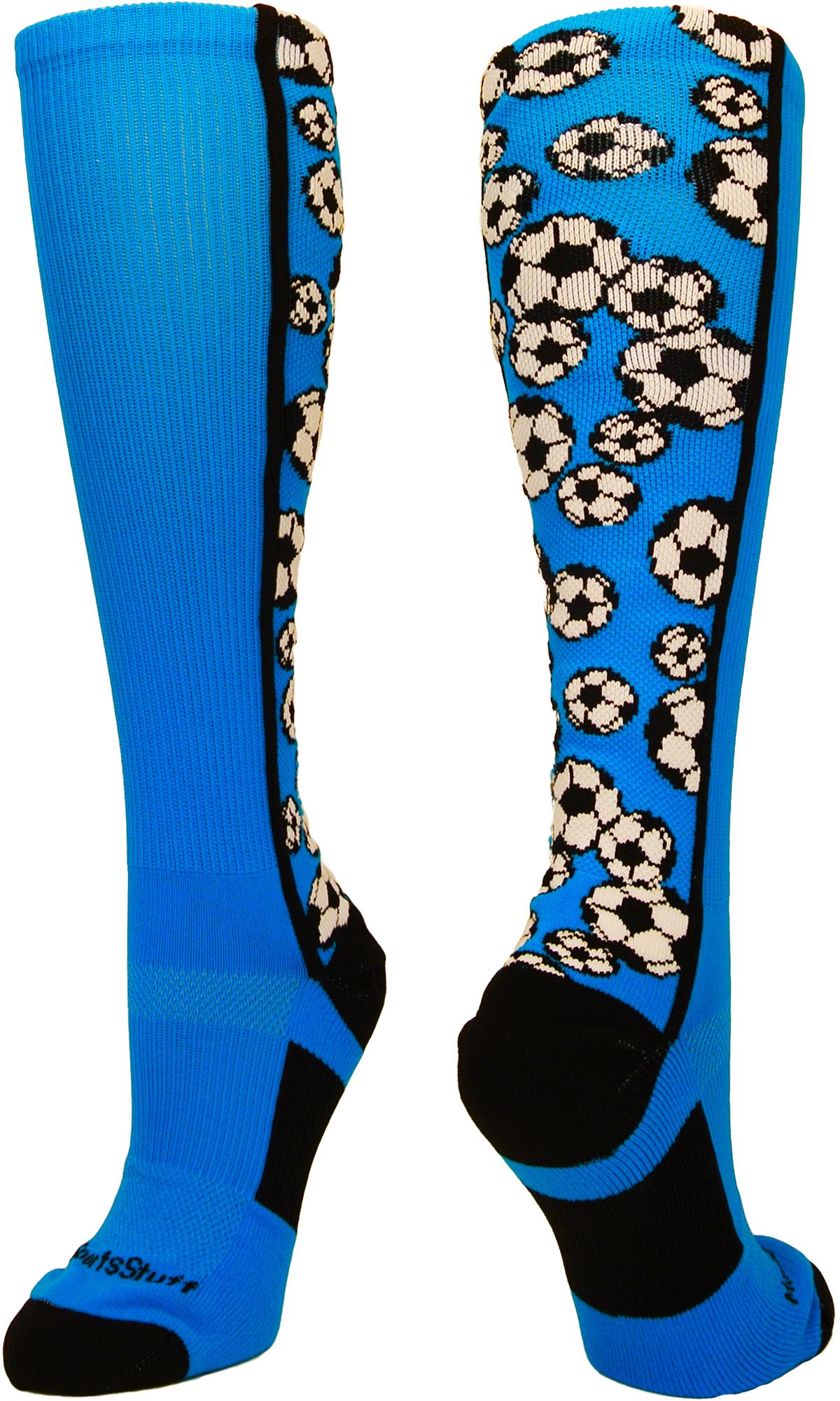 MadSportsStuff Crazy Soccer Socks with Soccer Balls Over The Calf (Electric Blue/Black, Medium) by MadSportsStuff