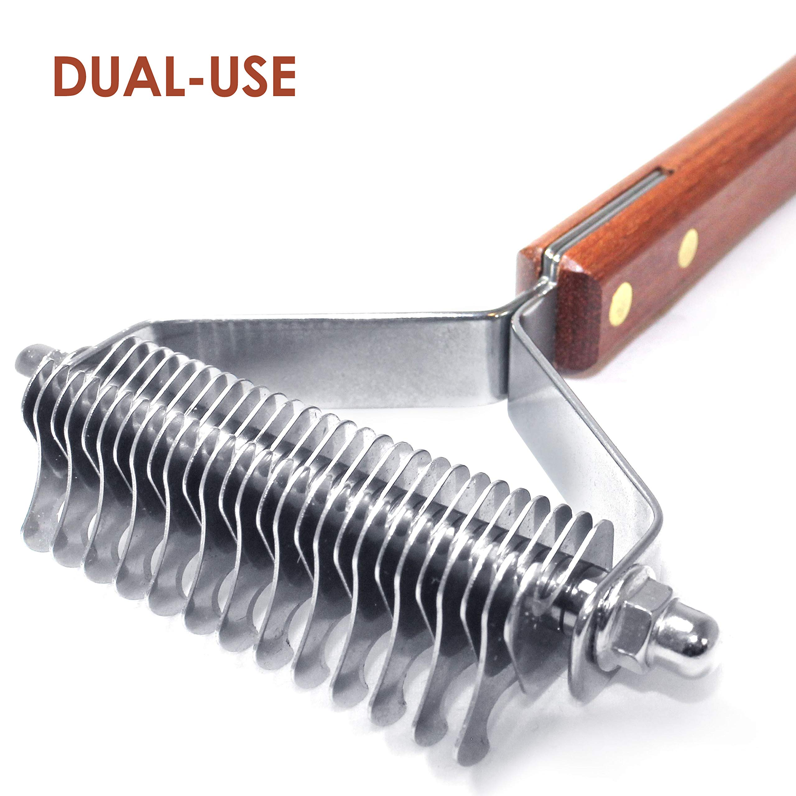 PawsPamper Dual-Use Undercoat Rake - Dematting & Finishing Grooming Tool for Dogs and Cats (13+27 Blades) by PawsPamper