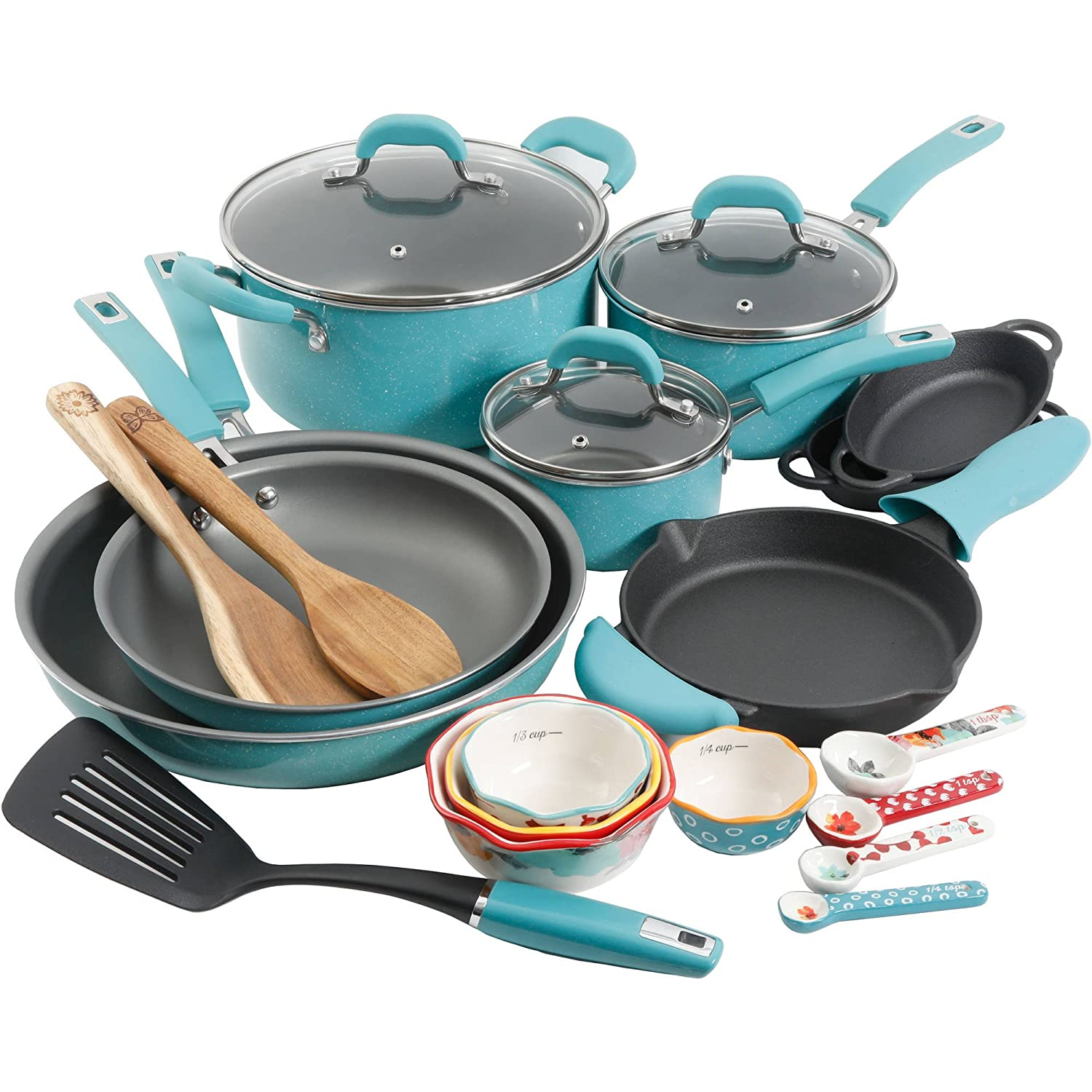 The Pioneer Woman Vintage Speckle Cookware Combo Set 24 Piece Turquoise