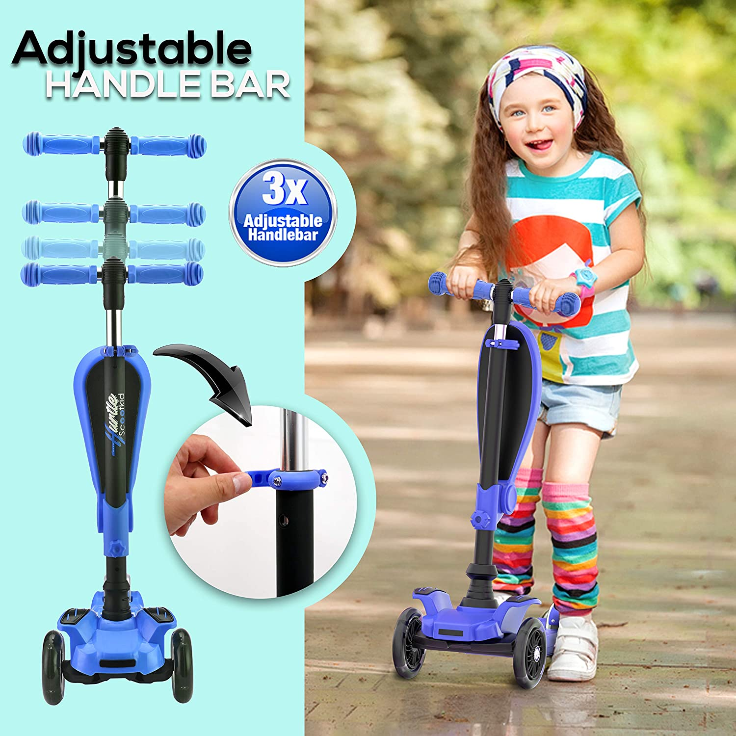 3 Wheeled Scooter for Kids Wide Deck Flashing Wheel Lights Blue Great for Outdoor Fun 2-in-1 Sit//Stand Child Toddlers Toy Kick Scooters w//Flip-Out Seat Hurtle HURFS56 Adjustable Height