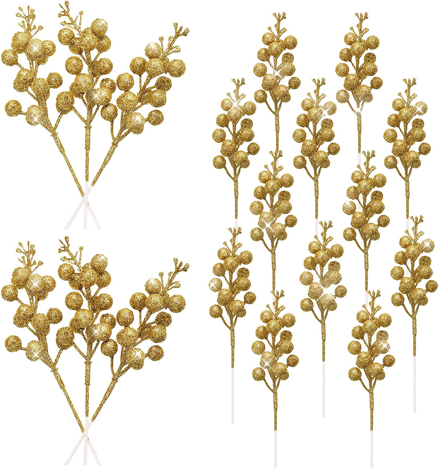 WILLBOND 18 Pieces Christmas Glitter Berries Stems Artificial Gold Berry Twig Stem Christmas Berry Picks Decorations for Christmas Tree Ornaments, Wreath, Crafts and Home Decor