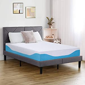 PrimaSleep 12 Inch Multi-Layered I-Gel Infused Memory Foam Mattress,Queen,White/Blue
