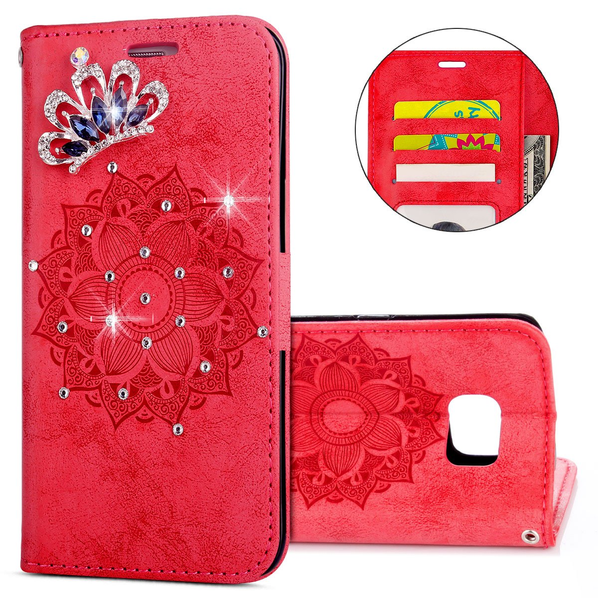 IKASEFU Galaxy S6 edge Case,3D Clear Crown Rhinestone Diamond Bling Glitter Wallet with Card Holder Emboss Mandala Floral Pu Leather Magnetic Flip Protective Cover for Samsung Galaxy S6 edge,Red