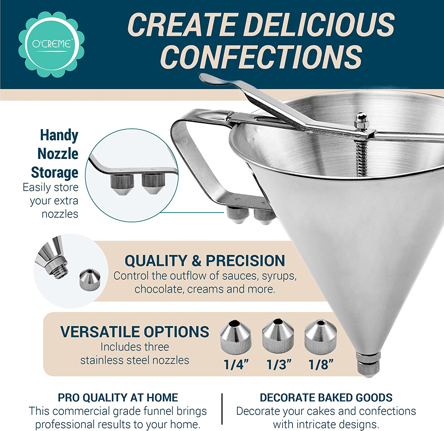 Artilife Confectionery Funnel Stainless Steel Funnel with Stand and Three Nozzles Professional Commercial Cake Decorating Tool Funnel