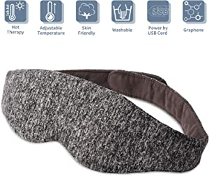 Rooftree Graphene Heated Eye Mask, Electric USB Warm Compress Eye Pad, Adjustable Temperature & Time Control, Washable Sleep Mask for Puffy Eyes, Dry Eyes, Tired Eyes and Dark Circles