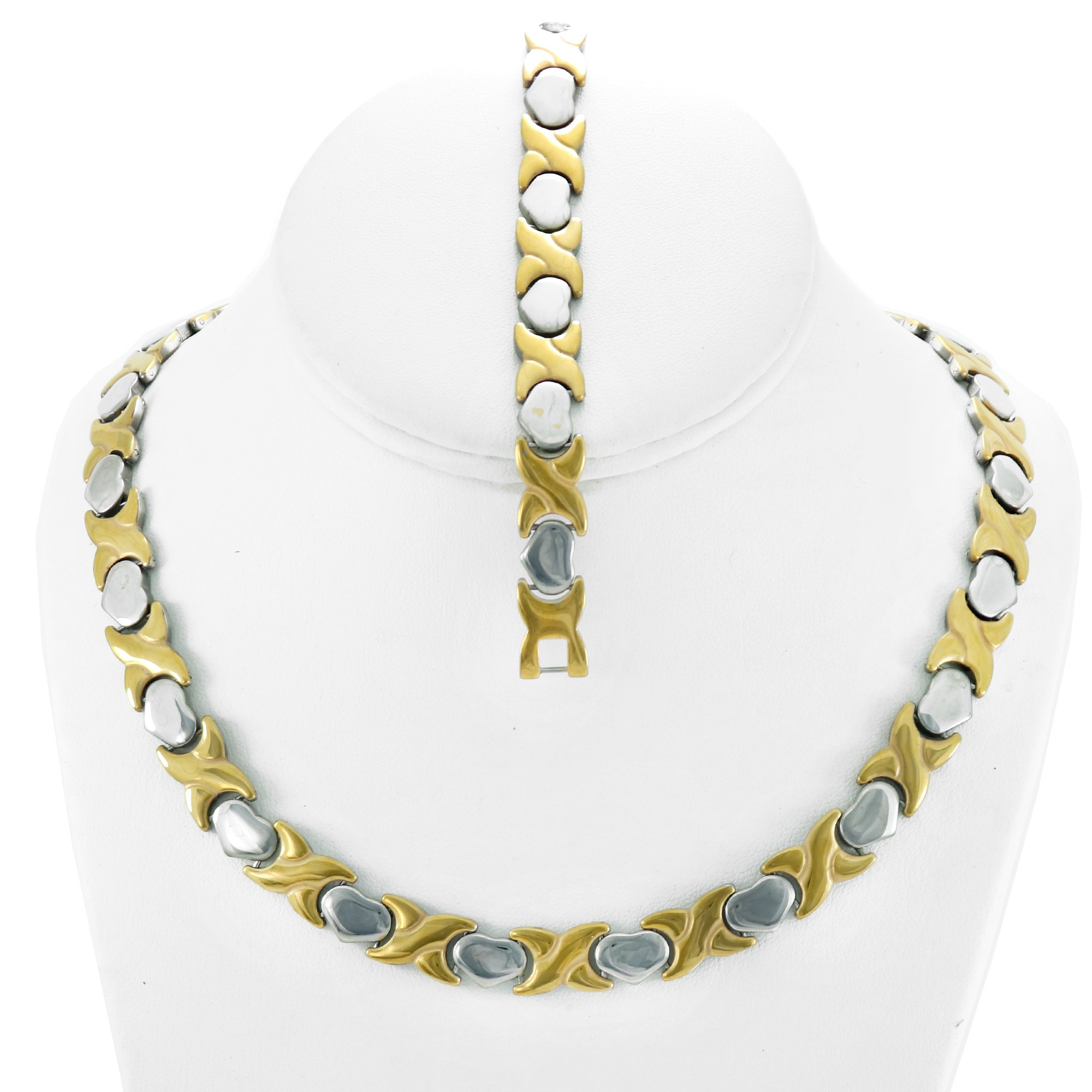 NEW 11mm Width Womens Two Tone (Gold & Silver) XOXO Stampato Necklace and Bracelet Set 18/20'' LENGTH (Necklace Length 20'')