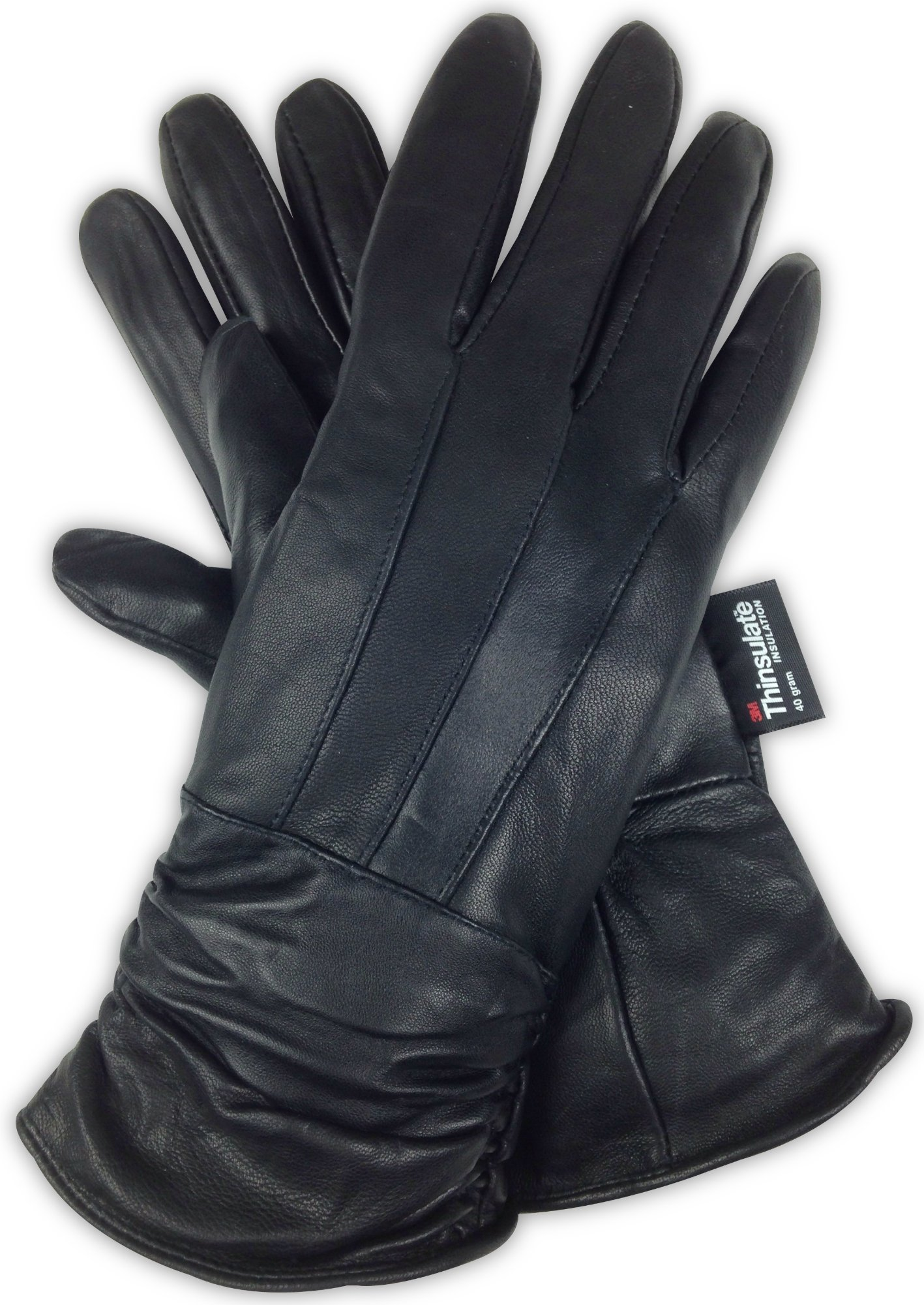 Luxury Soft Women's Leather Gloves – Genuine Nappa Sheepskin Leather with 3M Thinsulate Gloves – Black Ladies Winter Gloves for Dress and Driving (Medium, Classic)