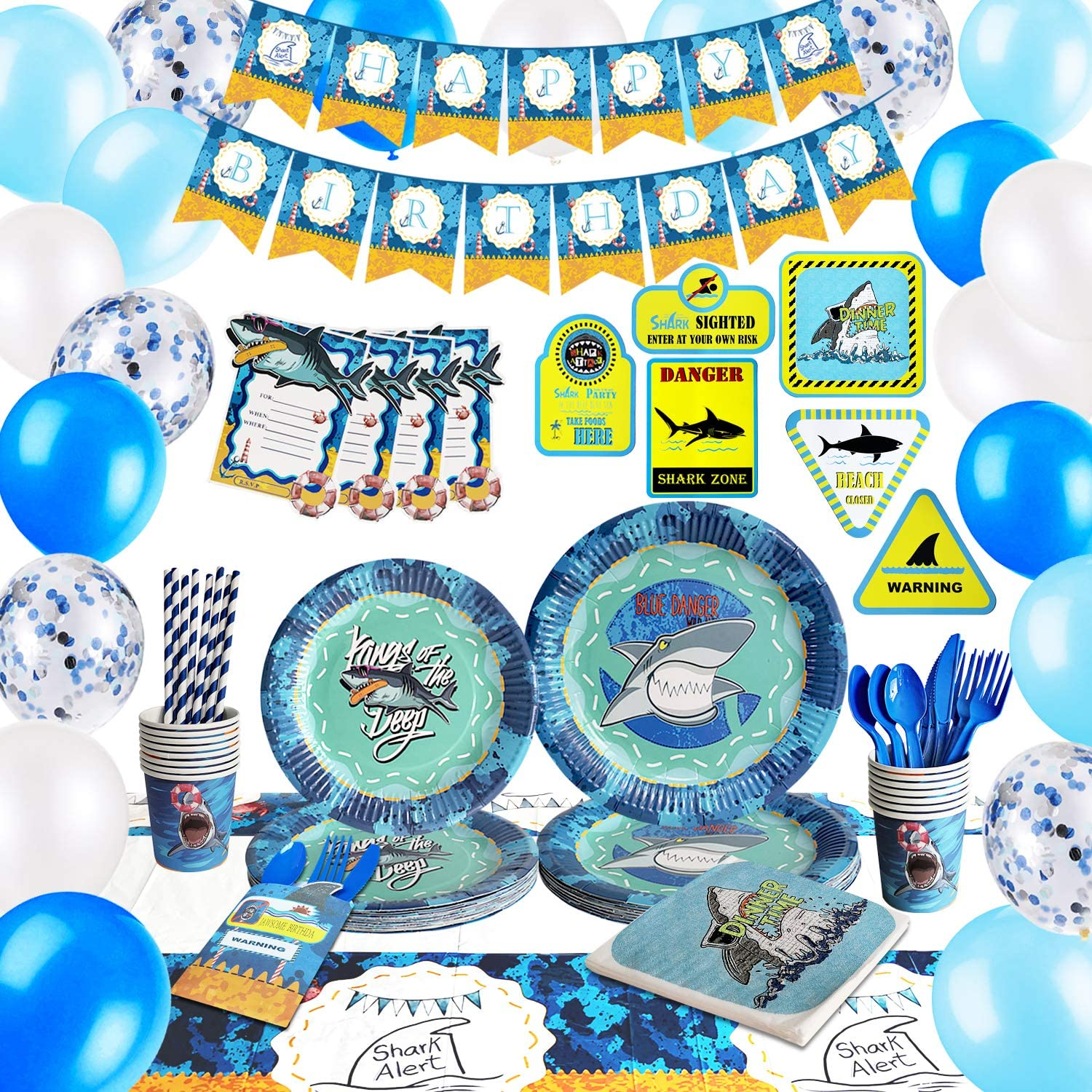 HIPEEWO Shark Birthday Decorations - Shark Party Supplies Decorations Set for Boys Kids Including Birthday Banner, Tablecloth, Balloons, Sign, Plates, Cups, Napkins, Cutlery Bag, Straws, Utensils, Serves 16 Guests 191 PCS