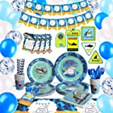 HIPEEWO Shark Birthday Decorations - Shark Party Supplies Decorations Set for Boys Kids Including Birthday Banner, Tablecloth