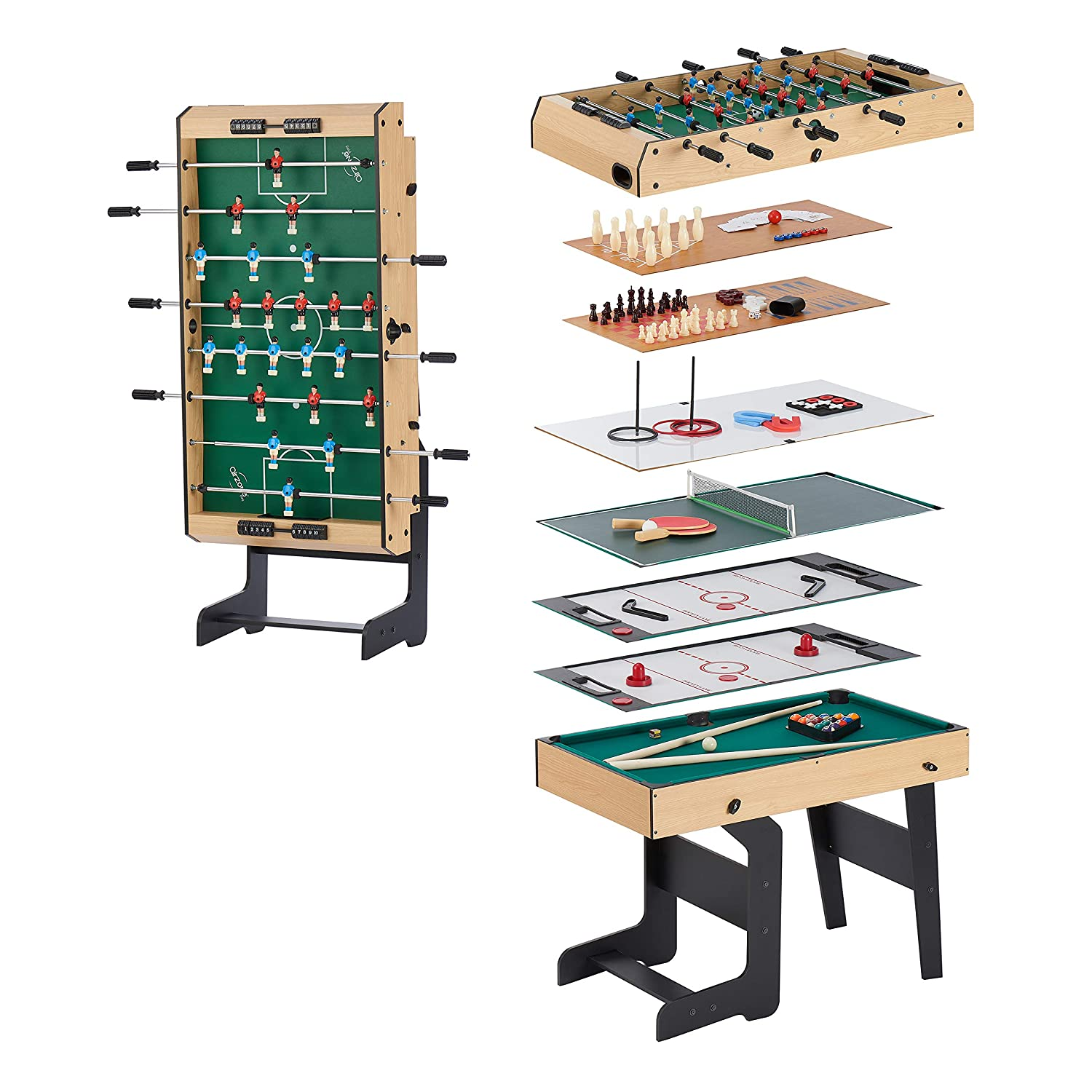 Aromzen 16-in-1 Folding Junior Multi Game Table with Accessories ...