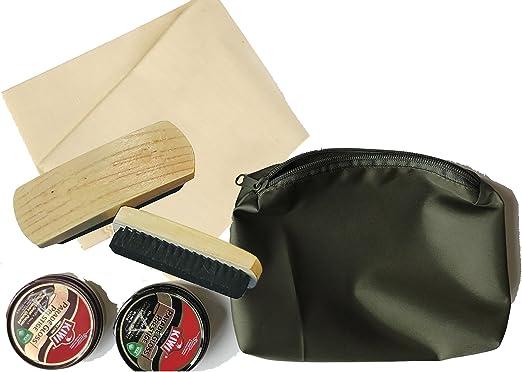 Kit de limpieza militar para botas/zapatos - bronceado oscuro+negro KIWI Polish - Selvyt Cloth - 2 cepillos grandes - bolsa verde con cremallera: Amazon.es: Ropa y accesorios