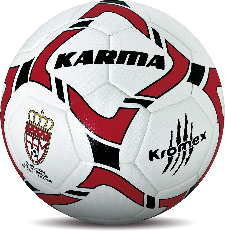 KROMEX Balón Fútbol Karma. Oficial R.F.F.M. (Blanco, 3): Amazon.es ...