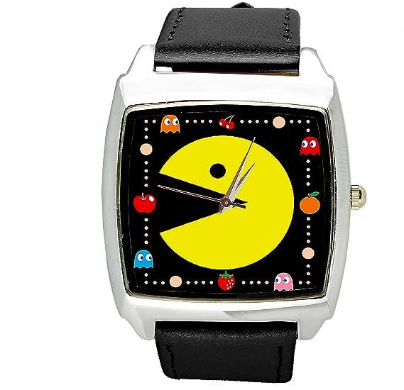 taport® Pacman Cuarzo Cuadrado Reloj Correa de Piel Negro + ...