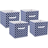 """DII Foldable Fabric Storage Containers for Nurseries, Offices, Closets, Home Décor, Cube Organizers & Everyday Storage Needs, (Large - 11 x 11 x 11"""") Nautical Blue Lattice - Set of 4"""