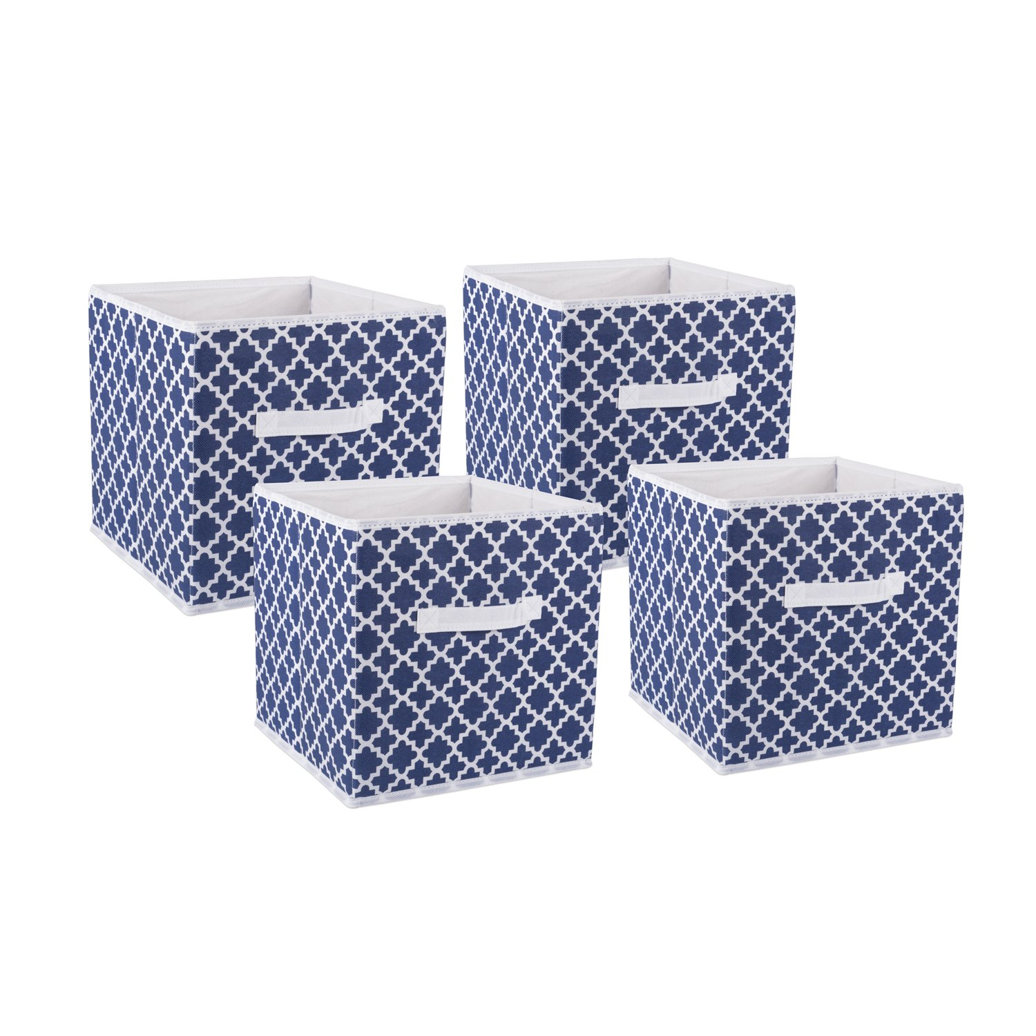 DII Fabric Storage Bins for Nursery, Offices, Home Organization, Containers are Made to Fit Standard Cube Organizers (11x11x11) Lattice Nautical Blue - Set of 4