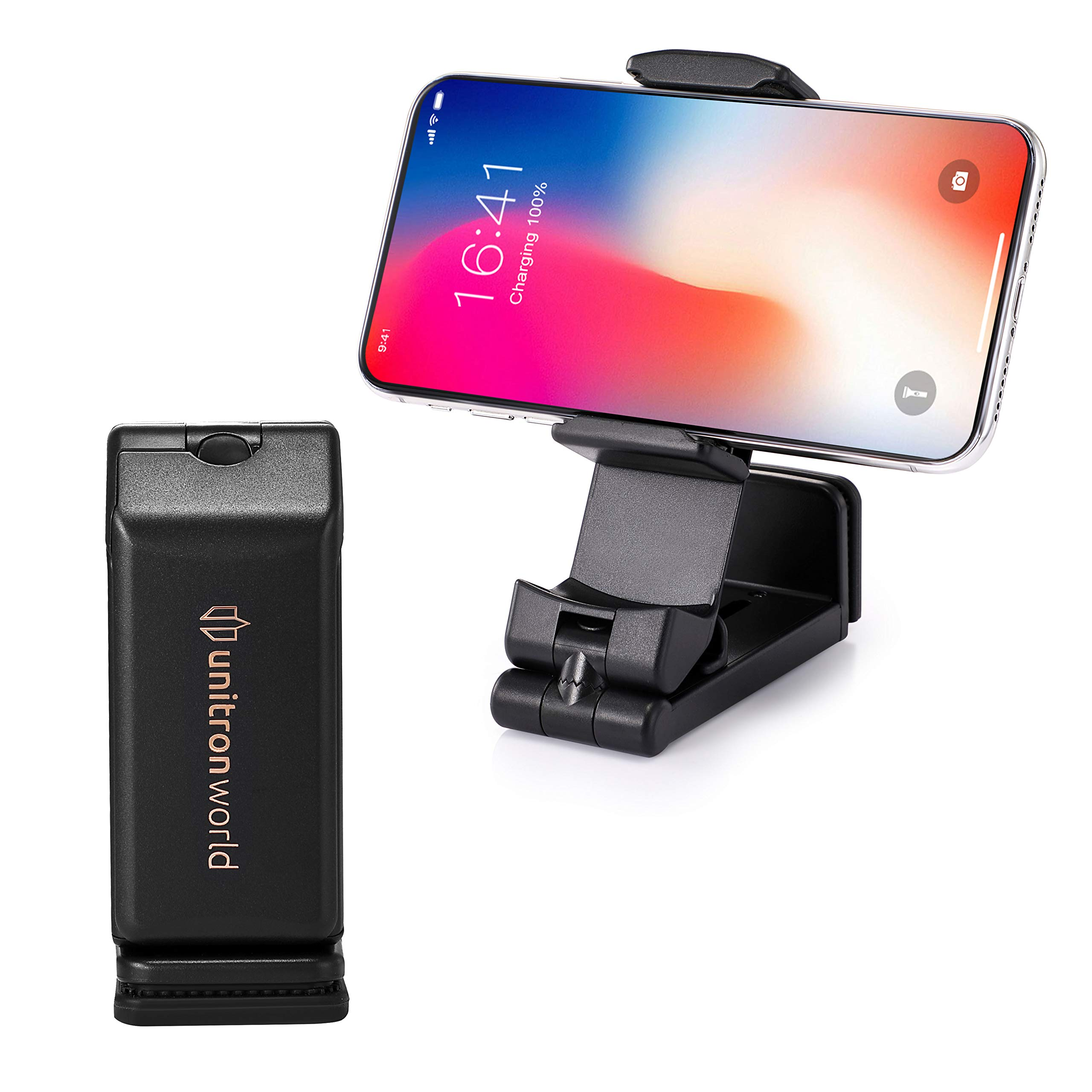 unitron world Airplane Flight Adjustable Mobile Portable Phone Stand Clamp Holder Mount 360 Rotating Bracket Compatible with iPhone Xs MAX XR X 8 7 6 and Android Phones and More for Desk Bed Kitchen by unitron world