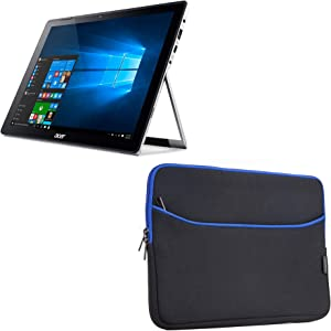 Acer Switch Alpha 12 (SA5-271) Case, BoxWave [SoftSuit with Pocket] Soft Pouch Cover w/Sleeve for Acer Chromebook R11 | Switch Alpha 12 (SA5-271), 5 (SW512-52) - Jet Black with Blue Trim
